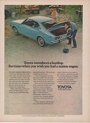 Magazine Print Ad: Blue 1971 Toyota Corona Hardtop,