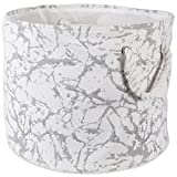 DII Collapsible Polyester Storage Basket or Bin with Durable Cotton Handles, Home Organizer Solution for Office, Bedroom, Closet, Toys, Laundry (Medium Round – 15x12), White Marble