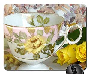 yellow roses and teacup Mouse Pad, Mousepad (Flowers Mouse Pad, Watercolor style)