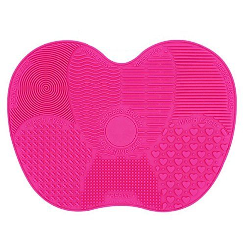 LYNN Silicone Makeup Brush Cleaning Mat, Makeup Brush Cleaner,Makeup Brush Cleaner Pad,Cosmetic Brush Cleaning Mat Portable Washing Tool Scrubber with Suction Cup (Rose-Big Size)