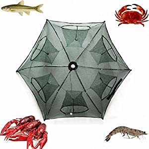 Fishing Net Folded Portable Hexagon 6 Hole Automatic Fishing Shrimp Trap Fish