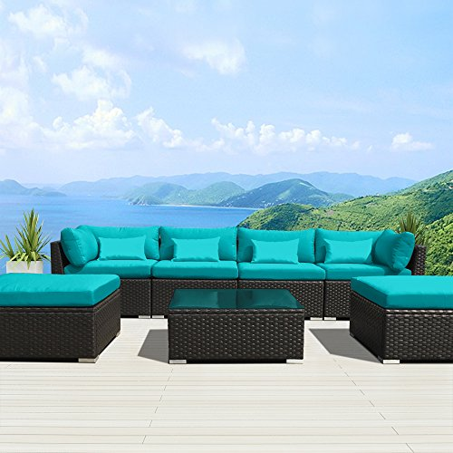 Modenzi 7C-U Outdoor Sectional Patio Furniture Espresso Brown Wicker Sofa Set