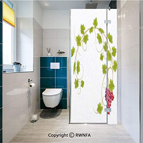 RWNFA Non-Adhesive Privacy Window Film Curved Ivy Branch Deciduous Woody Wines Seed Clusters Cabernet Kitchen Door Sticker Glass Film 17.7 in. by 47.2in. (45cm by 120cm),Green Purple
