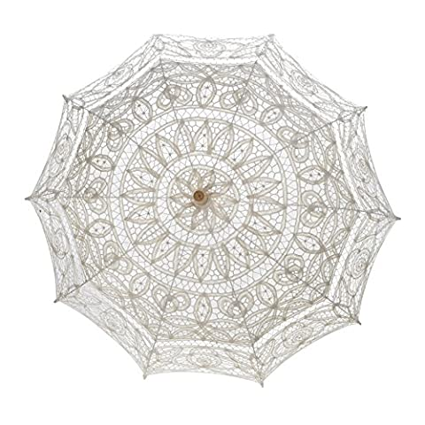 TopTie Embroidered Lace Umbrella Vintage Parasol For Wedding Party Decoration BEIGE (Theatrical Umbrella)