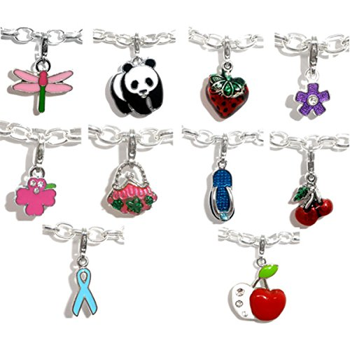 Housweety Mixed Enamel Charms Bracelet