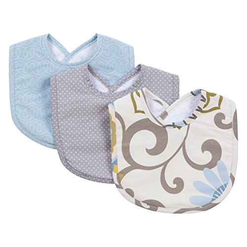 Trend Lab Waverly Pom Pom Spa 3 Piece Bib Set, Blue/Cream/Green/Gray (Bib Cream)