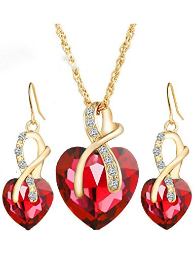 Gift! Gold Plated necklace Sets For Women Crystal Heart Necklace Earrings Jewellery Set Bridal Wedding Accessories (Red)