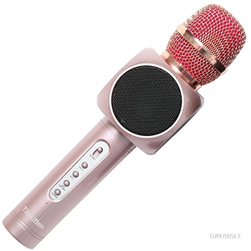 Tilekitten Portable Microphones and Speaker for Singing Bluetooth Karaoke Microphone Singing Machine Bluetooth Speakers Dual Speakers 2 Vibrating Diaphragm (Rose Gold) (Karaoke Machine With Mic Stand)