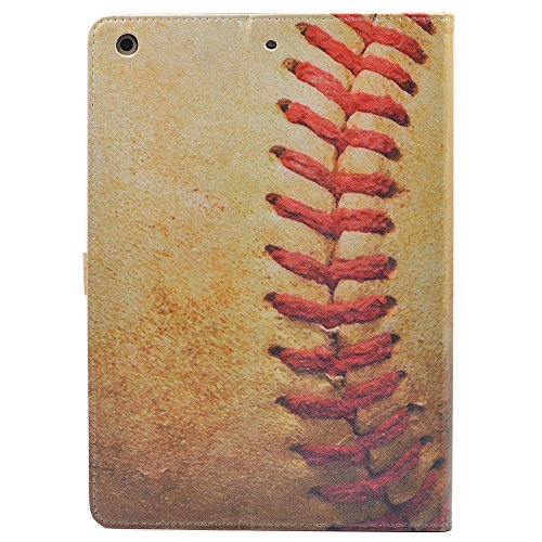 iPad 9.7 2018/2017 Case, Vintage Baseball Sports Pattern Leather Flip Case Stand Cover For Apple iPad 9.7 Inch 2018/2017