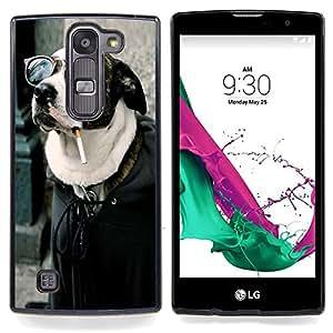 "Qstar Arte & diseño plástico duro Fundas Cover Cubre Hard Case Cover para LG G4c Curve H522Y ( G4 MINI , NOT FOR LG G4 ) (Buena Divertida Badass fumadores perro del inconformista"")"