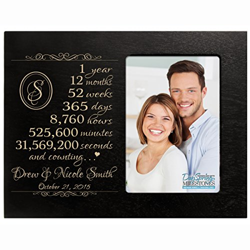 Personalized one year anniversary gift for her him couple Custom Engraved wedding gift for husband wife girlfriend boyfriend photo frame holds 4x6 photo by DaySpring International (Black)