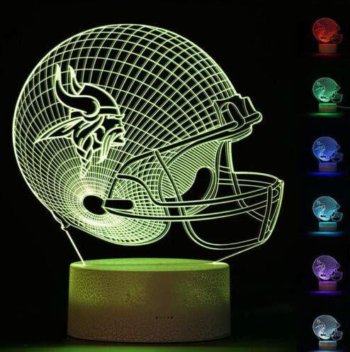 Minnesota Lighting Vikings - Football Helmet Light - Touch Control Football Team Light Lamp- 7 Color Changing Touch Light Lit Base - Night Light for Boys Men Women for Football Sports Lovers (Minnesota Vikings)