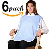 6PK - Top of The Line Super Soft 100% Terry Cloth Adult Bib with Velcro Closure