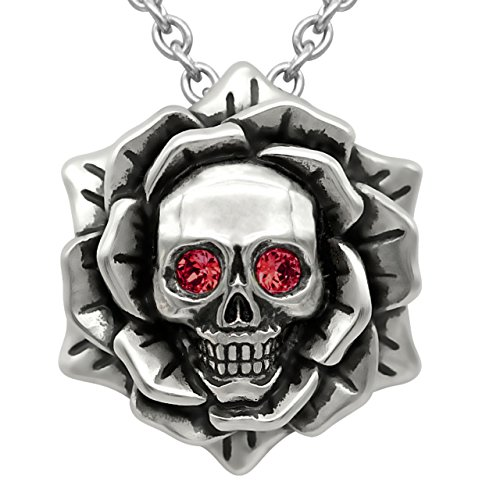 "Skull Rose Birthstone Necklace with Swarovski Crystal 17"" - 19"" Adjustable Chain (01-January - Darker Red)"