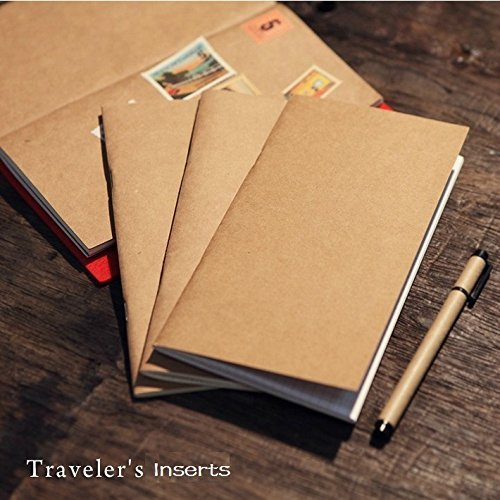 Refill Inserts for Traveler's Notebook Personal Size, Set with 4 Notebooks- Blank/Lined/Square Grid/Dot Grid Paper(3.7 x 6.5 Inch) (Personal Inserts)