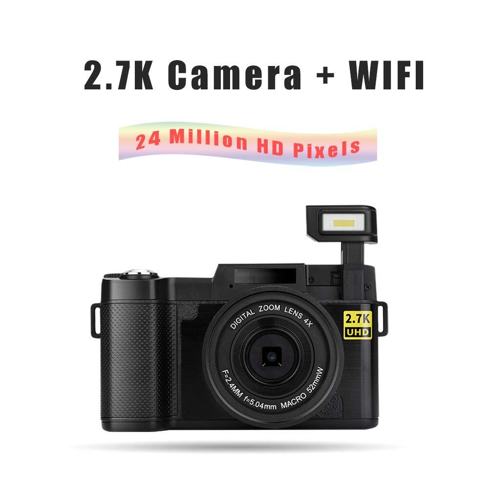 2400万画素 広角 防振 スポーツカメラ 2.7K 1080P 180° 回転可能 カラー画面 カメラ 美容selfie 4倍デジタルズーム ナイトビジョン 黒 カメラ 充電式バッテリー   B07PVNTXM5