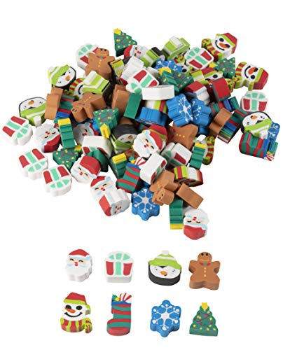 Christmas Party Favors - 100-Pack Mini Eraser for Kids, Stocking Stuffer, Carnival Prizes, Classroom Rewards, Goodie Bags, Giveaways, 8 Assorted Holiday Designs