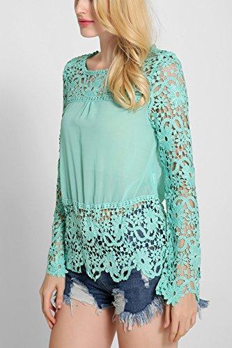 Manga larga de encaje pura moda T camisas de la mujer Blue