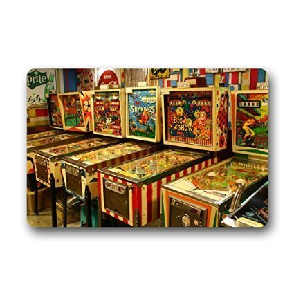 "Custom Funny Pinball Game Decor Rug Decorative Doormat Indoor/Outdoor Doormat 23.6"" x 15.7"" Non-woven Fabric Non Slip"