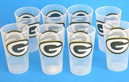 Green Bay Packers 8 Giant Party Cups, Large 16 oz. Unbreakable Thick Cups. Great for Game Day and Tailgate -
