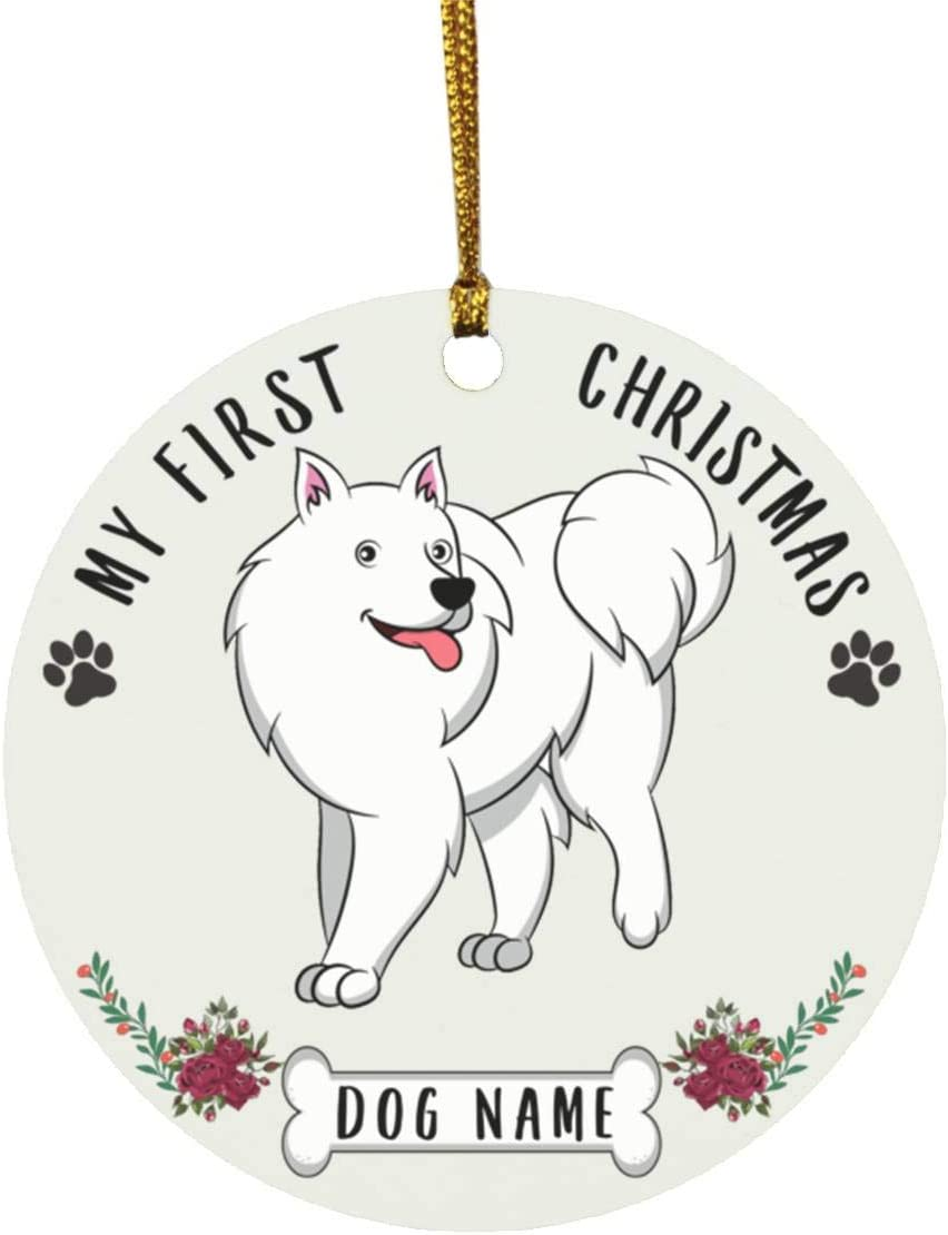 Lovesout Personalized Name American Eskimo Dog Cartoon Puppys First Christmas 2020 Ornament White Ceramic Circle