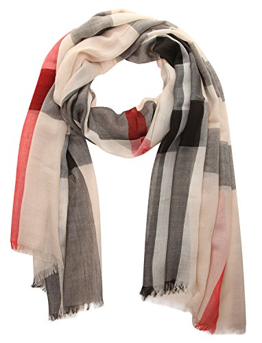 Burberry Unisex Check Modal Cashmere and SIlk Scarf Stone by BURBERRY