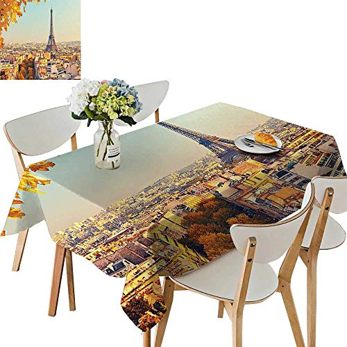 UHOO2018 Square/Rectangle Polyester Tablecloth Table Cover Picture of Eiffel Tower at Sunset Paris France Autumn Leaves Sunlights for Dining Room,54 x102inch ()