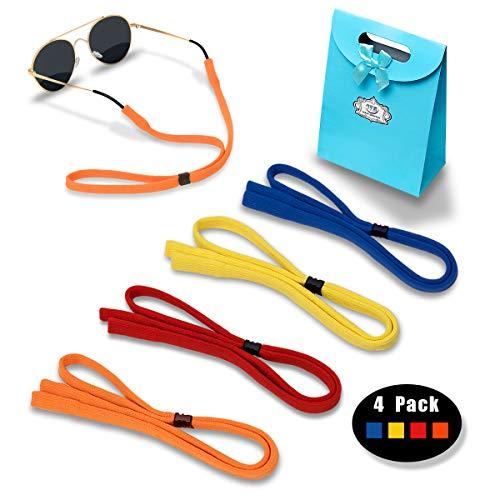 Eyeglasses Holder Strap Cord - Sunglasses Eyewear Retainer-Glasses Cord Lanyard - 4 Pack (Blue, Yellow, Red, Orange)