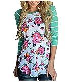 Lisli Women Color Block Floral Prints 3/4 Raglan Sleeves Tops Tee Shirt Casual