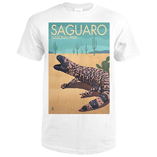 Saguaro National Park, Arizona - Gila Monster - Lithograph (Premium White T-Shirt XX-Large)