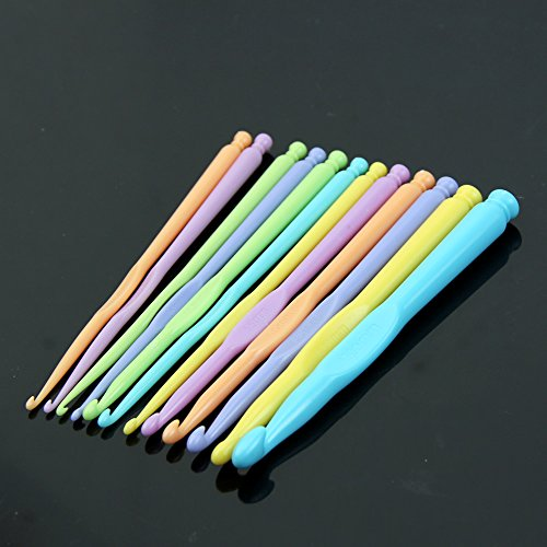(BCHZ 1 Set New Multicolor Plastic Knitting Needles Crochet Hooks Knit Needle 12Sizes)