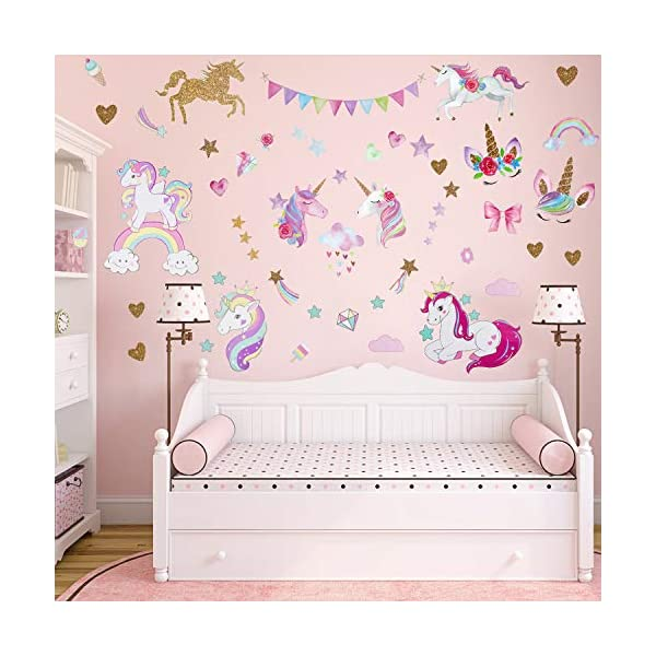 Unicorn Wall Decal, 3Sheets 2Styles 87pcs Unicorn Wall Stickers Wall Decals for Girls Room Kids Rooms Decor … 6