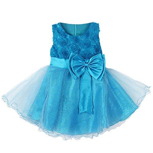 Weixinbuy Kid Baby Girl's Chiffon Sleeveless Flower Wedding Tulle Dress Light Blue