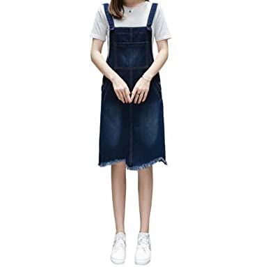 47cca731568 Elwow Lady s Casual Style A Line Plus Size Jeans Denim Pinafore Dungaree  Knee Length Dress Jumpsuit