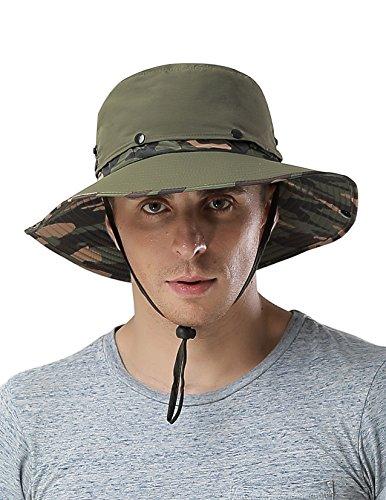 Waterproof Outdoor Wide Brim Sun Hat by Feeker, Fishing Hunting Hiking Sun Boonie Hat for Men & Women(Camo/Green)