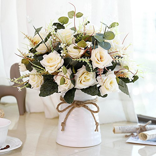 YILIYAJIA Artificial Rose Bouquets with Ceramics Vase Fake Silk Rose Flowers Decoration for Table Home Office Wedding (Champagne) -