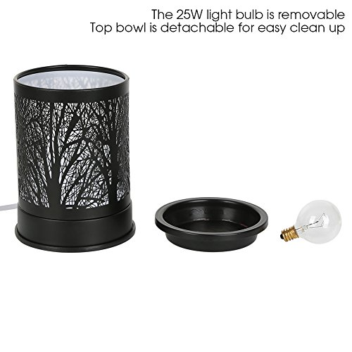 Foromans Wax Melts Candle Warmer Classic Black Metal Forest Design Fragrance Oil Warmer Lamp for Home Decor