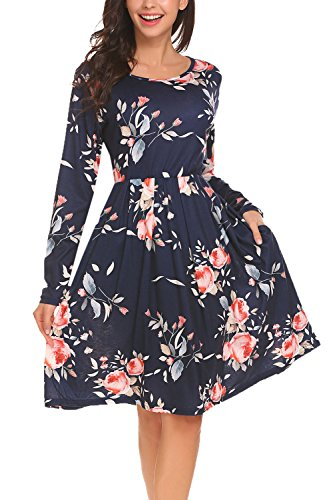 BLUETIME Women Pleated Crew Neck Tunic Swing Floral Dress With Pockets (M, Navy Blue) (Shoes Dress Casual Women)