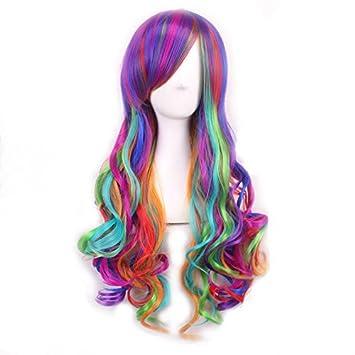 Peluca Mujer Peluca Lolita Pelo Largo lockig Cosplay Arco Iris Multicolor Alta Calidad Cosplay Peluca 70