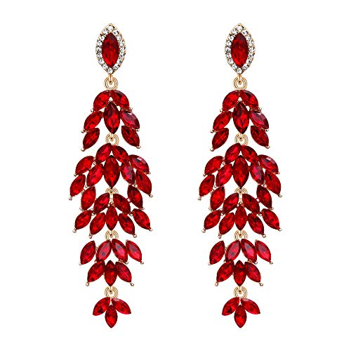 (BriLove Women's Wedding Bridal Crystal Multi Marquise-Shape Leaf Cluster Chandelier Dangle Earrings Ruby Color Gold-Toned)