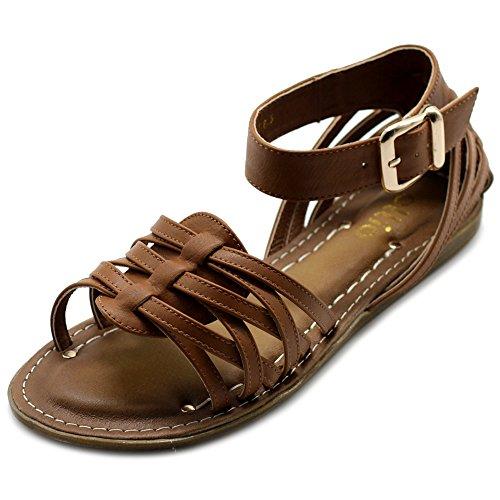 Ollio Women's Shoe Ankle Strap Gladiator Flat Sandal (8.5 B(M) US, - Gladiator Sandals Strap Flat