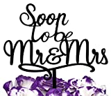 LOVENJOY with Gift Box Soon To Be Mr and Mrs Monogram Acrylic Wedding Engagement Cake Topper Black (5.9-inch)