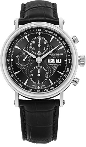 Alexander Statesman Creon Mens Stainless Steel Day Date Black Face Black Leather Band Swiss Automatic Chronograph Watch A474-01