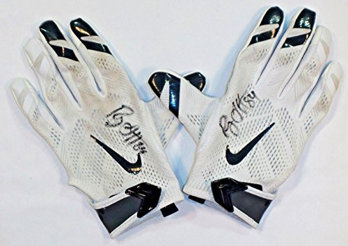 82d203d8a02 Ryan Griffin Houston Texans Autographed 2016 Game Worn Nike Gloves  White Blue 1 - NFL Game Used Gloves