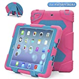 ACEGUARDER Apple Ipad Mini 2 Case Waterproof Rainproof Shockproof Kids Proof Case for Ipad Mini 2 (Gifts Outdoor Carabiner + Whistle + Handwritten Touch Pen) (Rose/Light Blue)