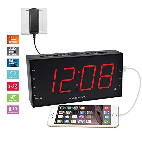 1.8 inch RED LED display Alarm Clock Radio with USB charging & Audio input, DC Battery Backup, Dual Alarm, 3.5mm AUX cable for music playback, USB port for Smartphones charging (PCR-2166) (Clock Wire)