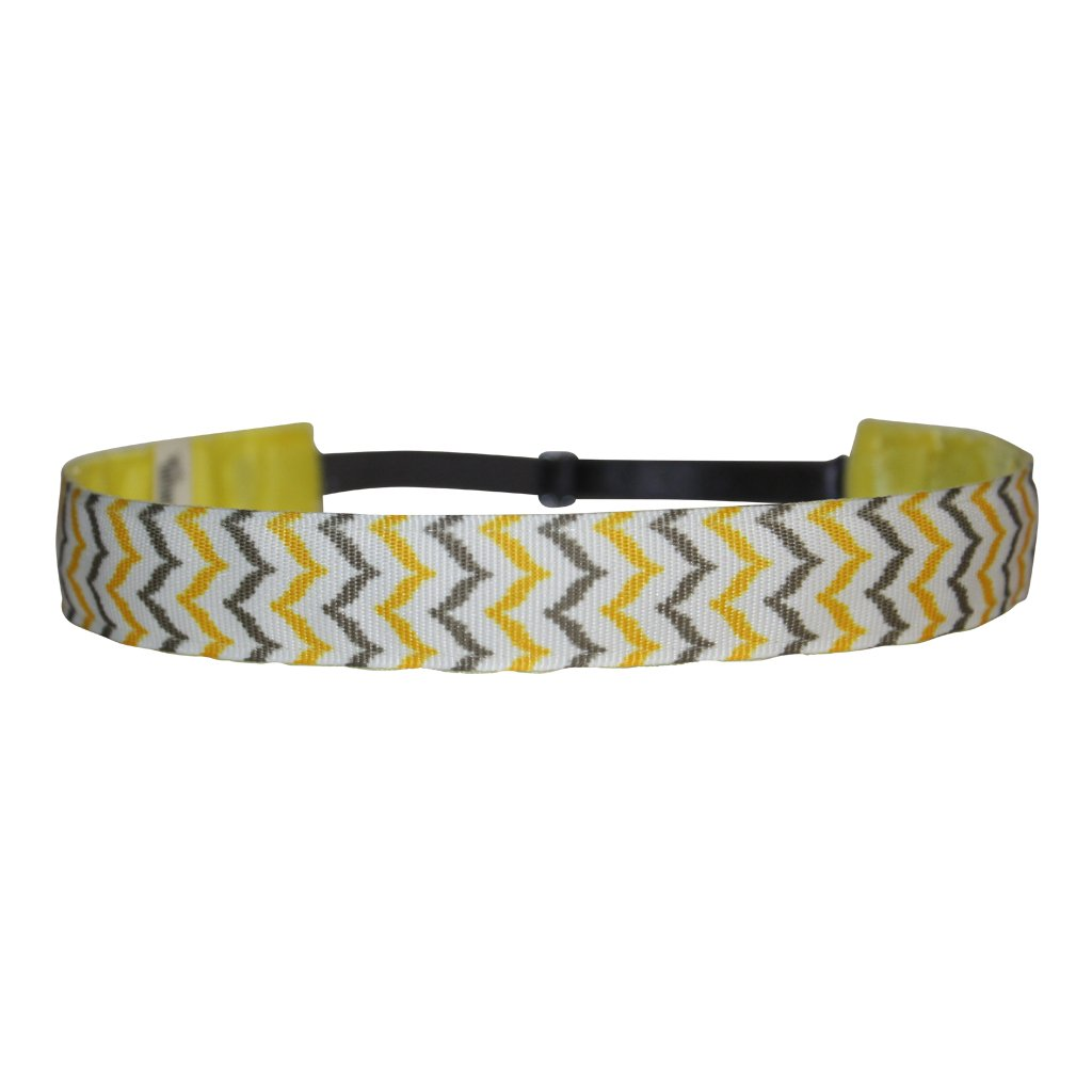 BEACHGIRL Bands Womens and Girl Headband - Non-Slip Velvet Sports Hairband Yellow Stripe