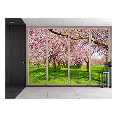 Dazzling Expert Craftsmanship, Rows of Pink Cherry Blossom Trees Over Green Grass Viewed from Sliding Door Creative Wall Mural Peel and Stick Wallpaper, Crafted to Perfection