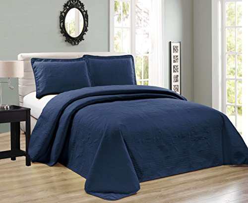 Elegant Home Beautiful Over Sized Dark Blue Navy Solid Color Embossed Floral Striped 3 Piece Queen / Full Size Coverlet Bedspread (Queen / Full, Navy)