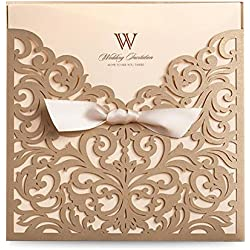 Dream Built Wedding Invitations wedding invites invitations cards wedding invitations kit Vertical Square Gold Laser Cut Wedding Invitation with Beige Ribbon,1PC,CW5011-1P (Gold 1pc)